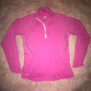 Pink Nike half-zip sweater
